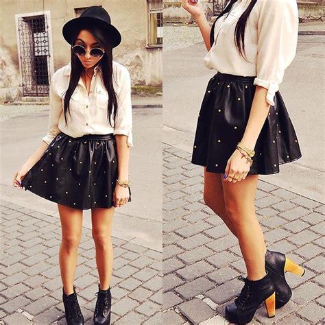 pam s romwe skirt leather skirt lookbook