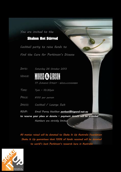 cocktail party invitation shaken not stirred cocktail party in brisbane to support