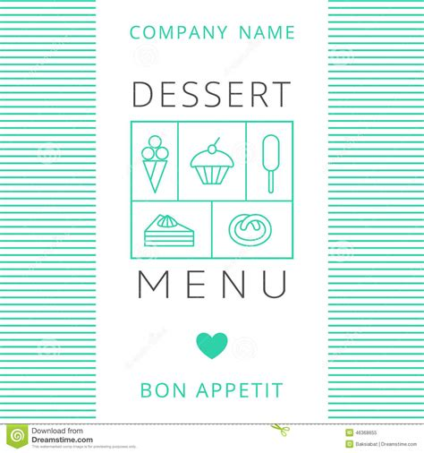 menu card design template vector free dessert menu card design template stock vector