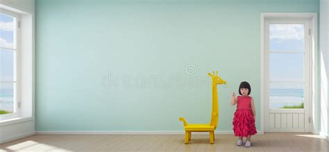 Gras An Die Wand Malen by Asian Child In Room Of Modern House With