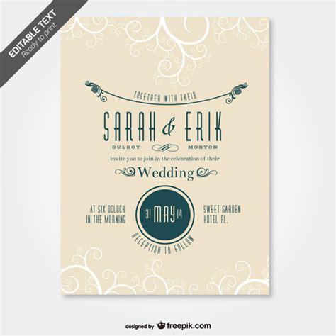 retro design invitation card retro wedding card swirl design vector free download