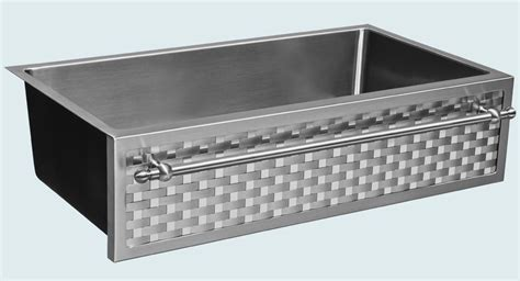 stainless steel apron sink with towel bar made stainless sink with woven apron towel bar by