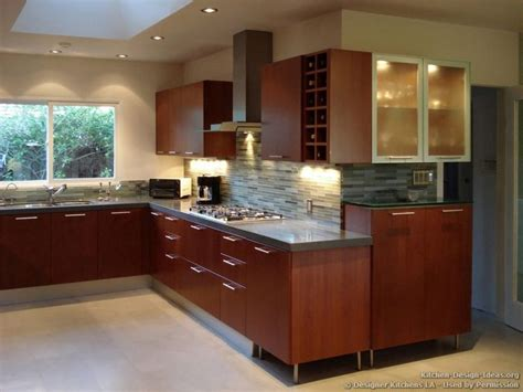 Pictures Of Kitchens With Cherry Cabinets by Modern Cherry Kitchen Glass Tile Backsplash Designer