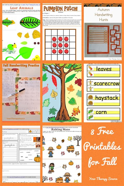 fall gross motor activities 8 free printables for fall your therapy source