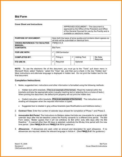 tender specification template bid templates fax cover sheet template for pages free word