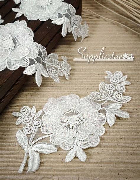 lace applique white lace flower applique bridal lace applique by