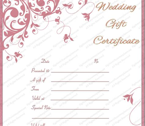 Wedding Gift Voucher Template by Gift Voucher Templates Gift Certificate Templates