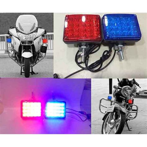 police strobe lights for motorcycles 2x 20 led red blue flashing car motorcycle patrol day