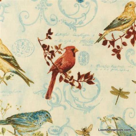 Bird Quilting Fabric by T236 Bird Nature Botanical Illustration Cotton Fabric