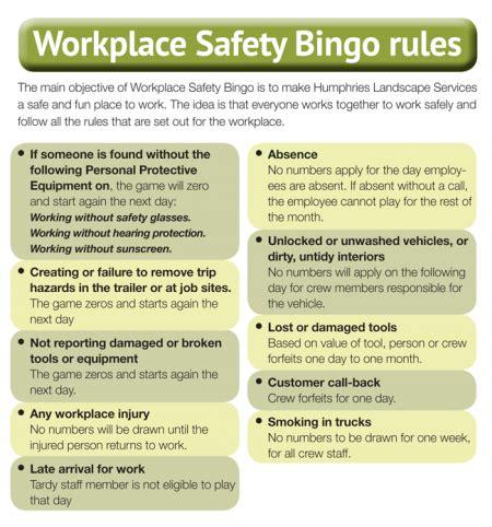 workplace ideas landscape trades workplace safety bingo