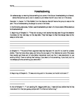 Foreshadowing Worksheets by Foreshadowing In The Hobbit By Missbrit Teachers Pay