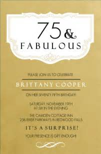 75th birthday invitations fabulous gold 75th birthday invitation