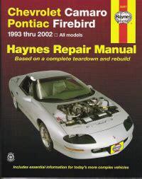 automotive repair manual 1993 chevrolet camaro head up display 1993 2002 chevrolet camaro pontiac firebird haynes repair manual