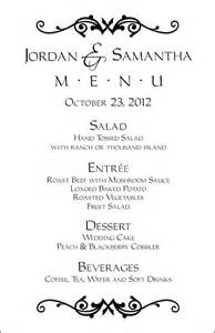 wedding menus templates 17 best ideas about wedding menu template on