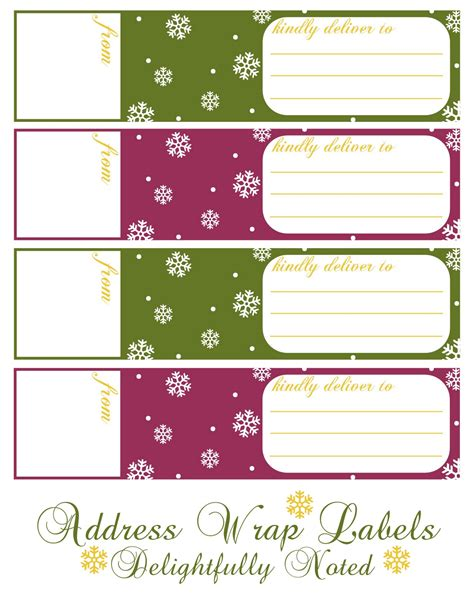 free printable address labels christmas printable holiday wrap around address labels