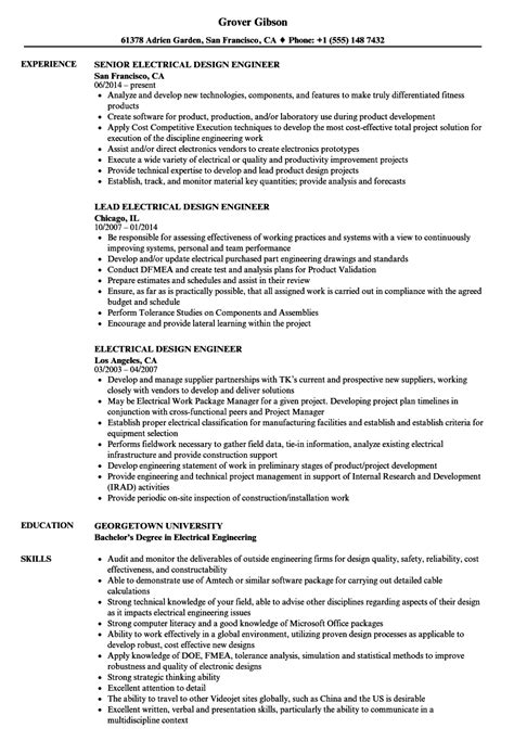 electrical design engineer resume sles velvet