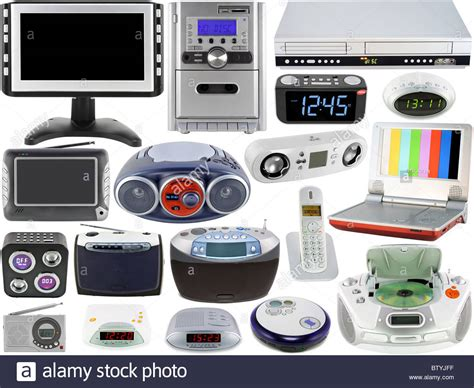 electronic gadgets for home set of home audio video electronic devices stock photo