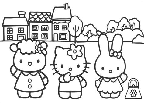 Coloring Pictures Of Hello Kitty And Her Friends | hello kitty and friends pictures to color coloring pages