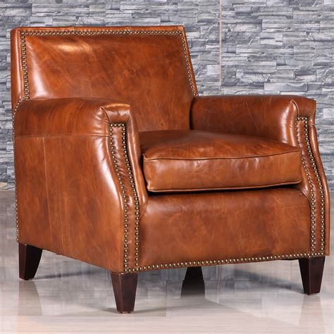 retro style antique leather armchair with rivet view