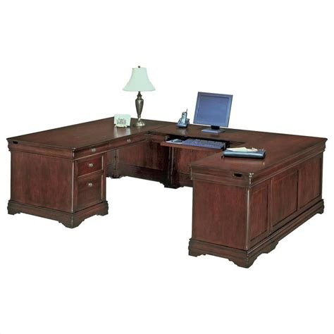 Executive U Shaped Desk Flexsteel Rue De Lyon Executive U Shaped Desk In Ruby Cabernet 7684 5xx