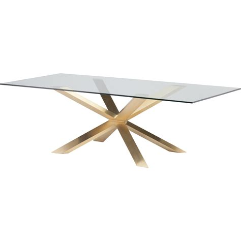 nuevo modern furniture hgsx149 couture 95 quot dining table w - Gold Table L Base