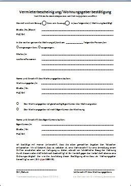 Wohnungsgesuch Schreiben Muster vermieterbescheinigung wohnungsgeberbest 228 tigung