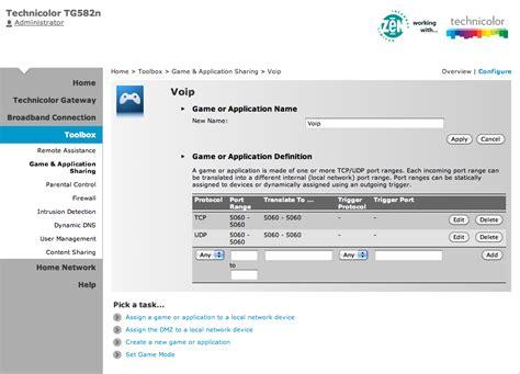 configurare porte fastweb broadband technicolor tg 582 configure forwarding