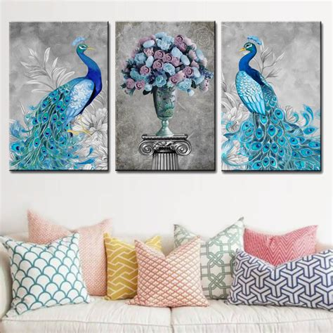 3 panels pop animals canvas wall peacock flower printed painting framed modern blue gray
