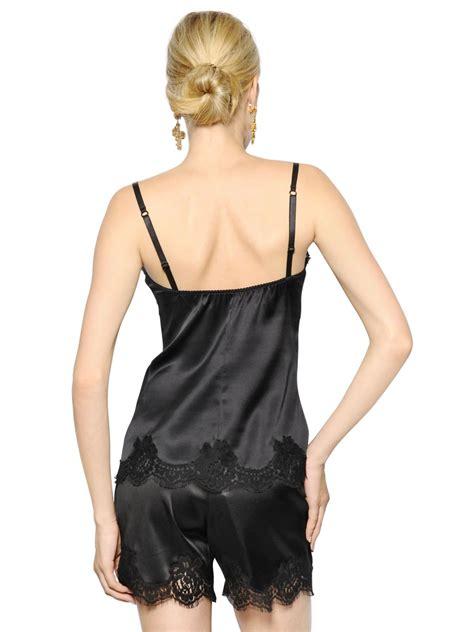 Satin Lace Silk Dolce Gabbana Lace And Silk Satin Top In Black Lyst
