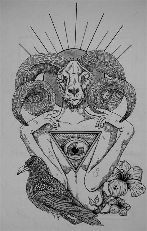 goat illuminati goat grey ink goat and illuminati eye