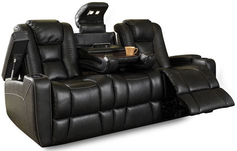 Black Fabric Reclining Sofa Evolution Black Leatheraire Fabric Power Reclining Sofa Ro8040 43h 121f Row One