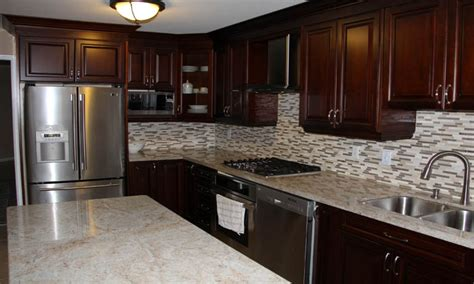 Granite With Cherry Cabinets In Kitchens Stand Alone Baths Cherry Kitchen Cabinets With Granite Countertops Cherry Wood