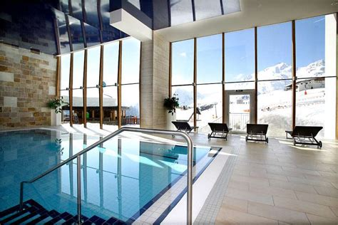 indoor schwimmbad indoor pool with panoramic view the alps