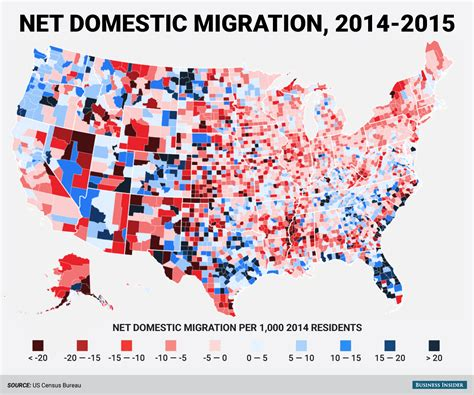 migration map census bureau county domestic migration map business insider