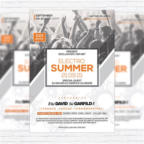 premium flyer templates electro summer premium flyer template cover