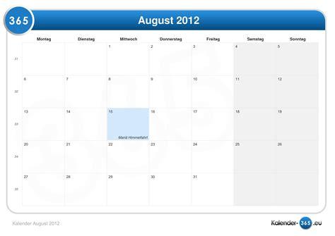 August 2012 Calendar Kalender August 2012