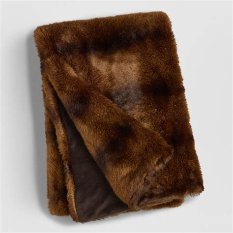 faux fur coverlet chocolate faux fur throw world market