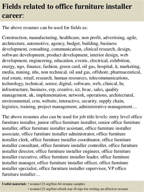 79 office furniture installation resume 7