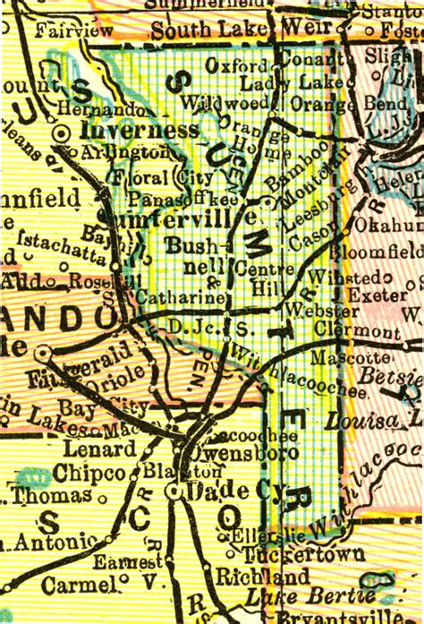 sumterville florida map sumter county 1898