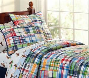 Pottery Barn Toddler Pillow Madras Quilted Bedding Traditional Kids Bedding By