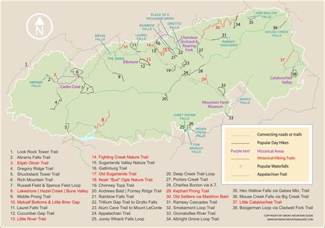 gsmnp trail map 38 popular day hikes in great smoky mountains national