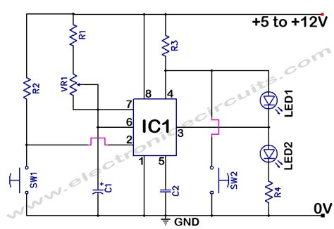 555 timer circuit diagram 555 timer time delay circuit electronic circuits
