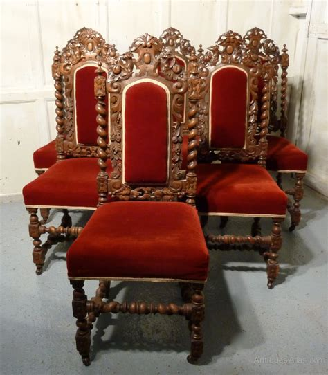 set   victorian gothic oak dining chairs antiques atlas