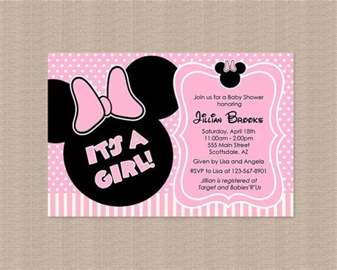 Gamis Baby Minnie Polka pink and gold minnie mouse baby shower invitation gold