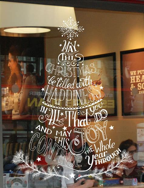 christmas decorating ideas for store windows tree window wall display sticker decoration business home decor ebay