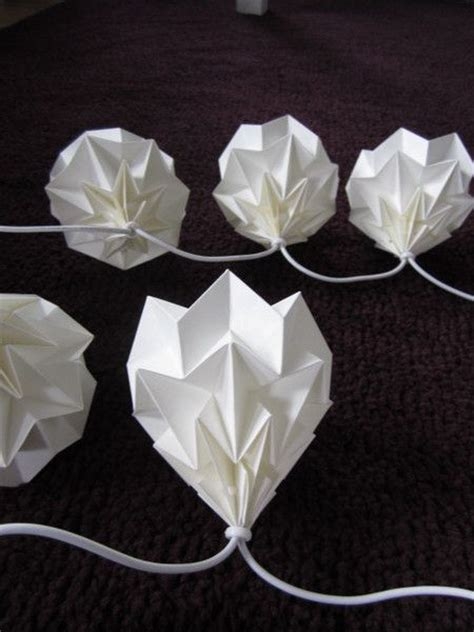 String Origami - origami string lights and paper on