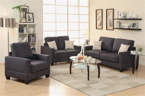 chair and sofa set 3 piece black miro fiber suede sofa set