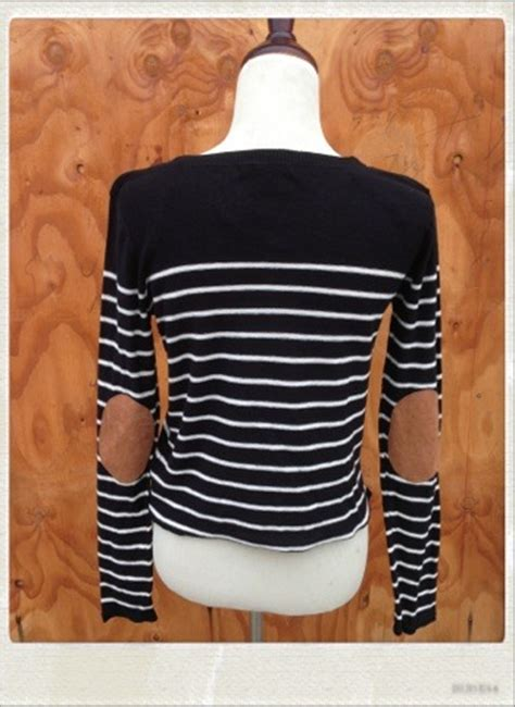 striped sweater  elbow patches black  navy blue