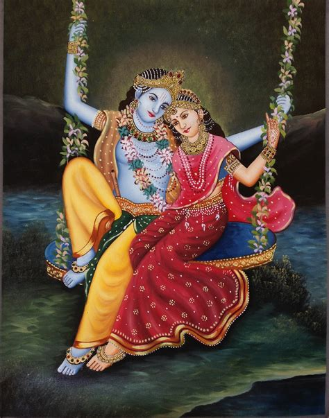 Handmade Paintings Of Radha Krishna - krishna radha folk handmade indian hindu religious