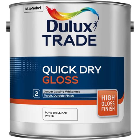 gloss paint dulux trade quick dry gloss paint pure brilliant white 2